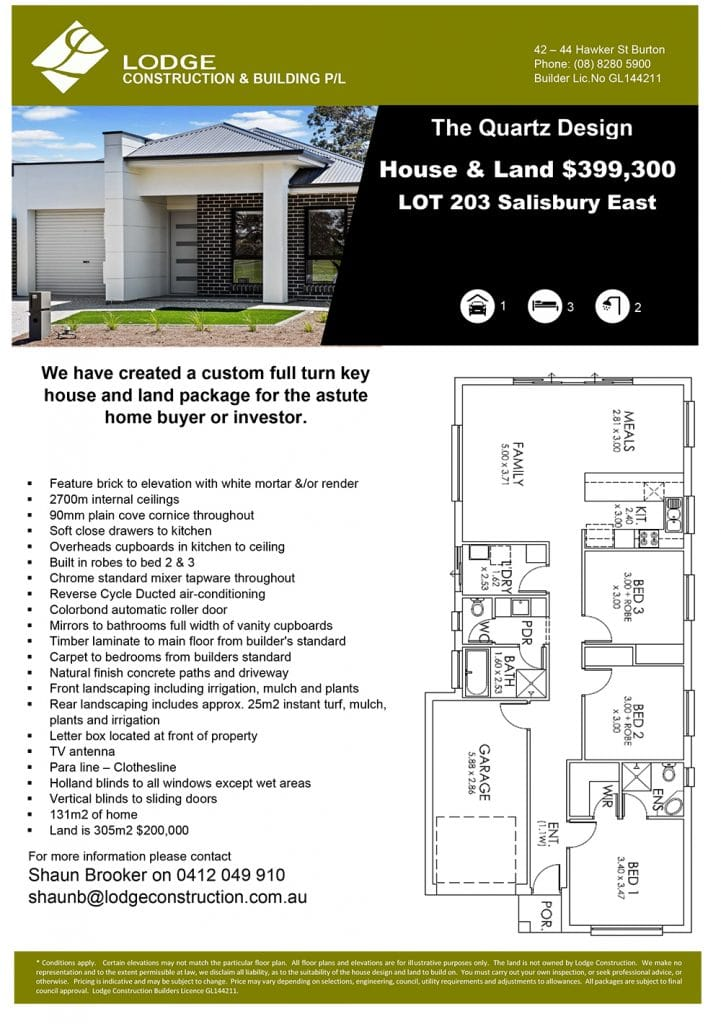 The Quartz Design House And Land Salisbury East SA 5109 Info